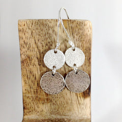 Mixed texture silver circles earrings