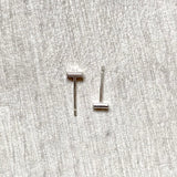 Tiny silver rectangle studs
