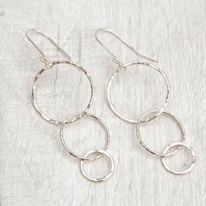 Trio of hammered circles earrings