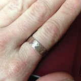 Wide Hammered sterling silver ring