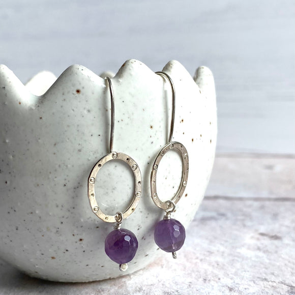 Amethyst and silver oval earrings