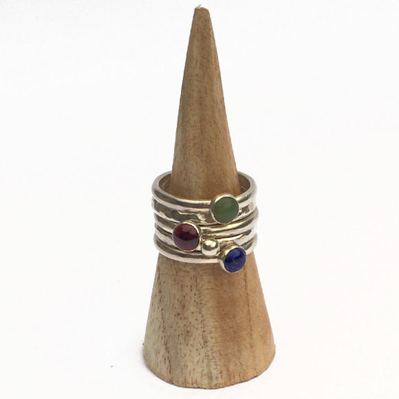 Stack of five rings - Garnet, Jade, Lapis Lazuli