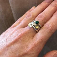 Flower and stone stack of rings - Citrine, Malachite