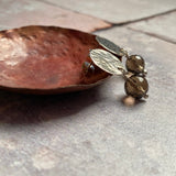 Smokey Quartz Hammered Disk Stud Earrings