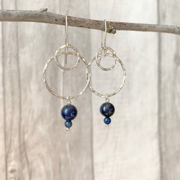 Hammered circles and Lapis Lazuli earrings