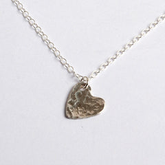 Silver hammer texture heart necklace