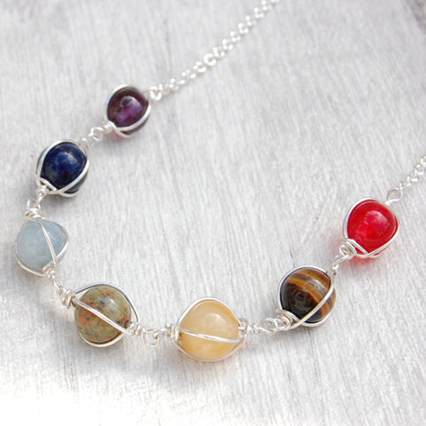 Wire wrapped semi precious stone rainbow Chakra necklace