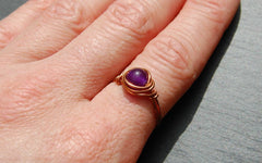 Wire wrapped copper stone ring