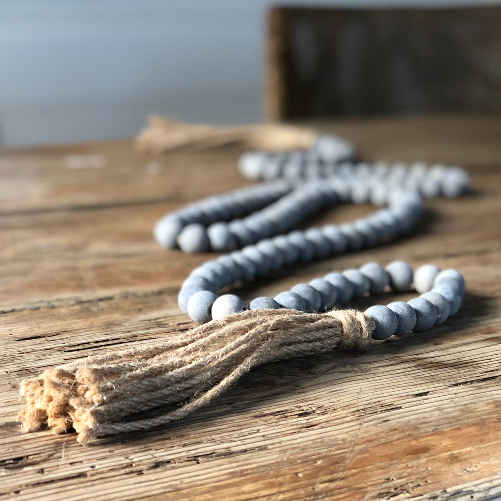 grey wooden prayer beads