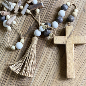 wooden cross prayer beads