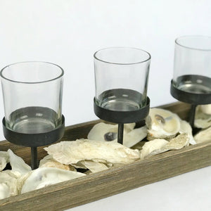wood and metal votive holder