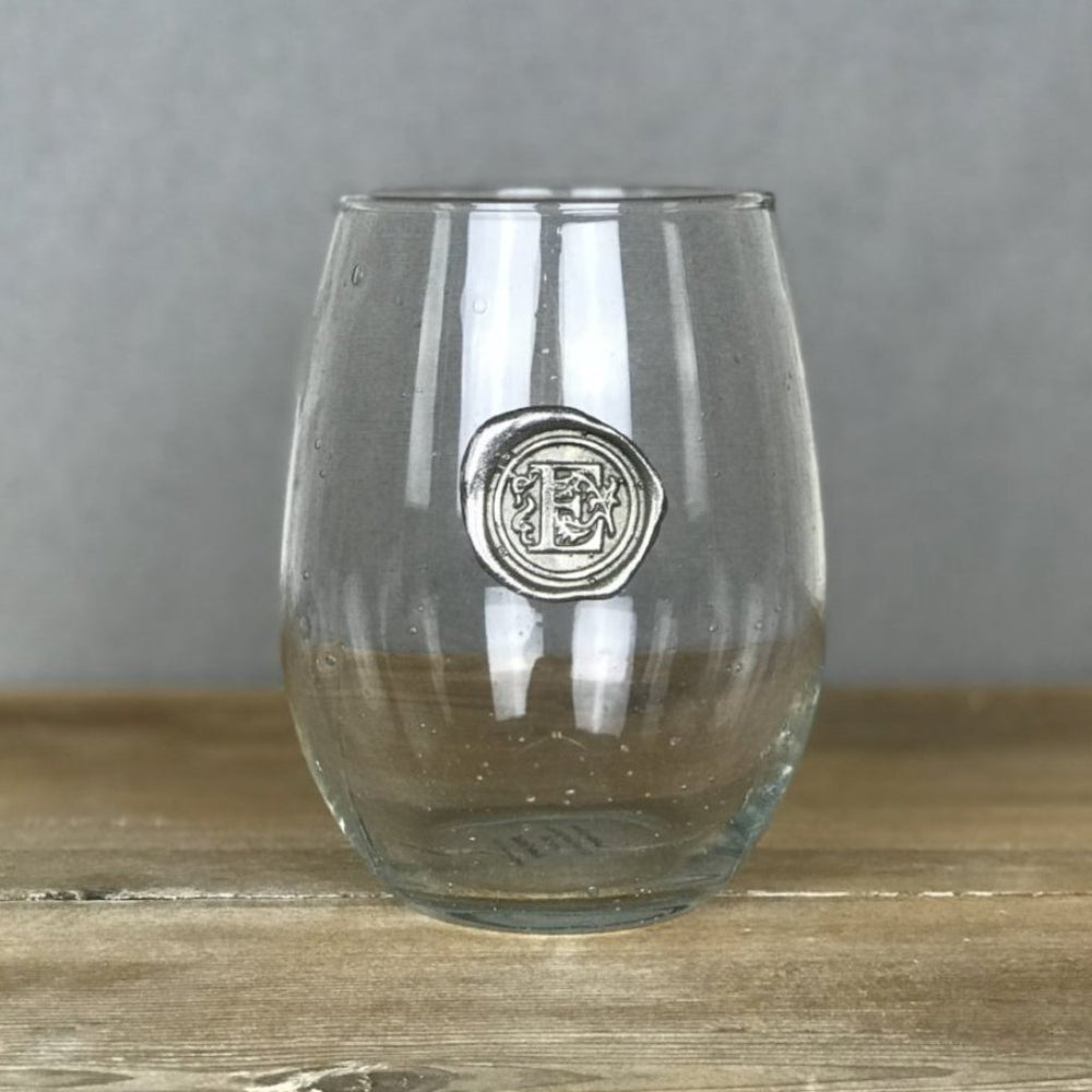 stemless wine glass with pewter initial
