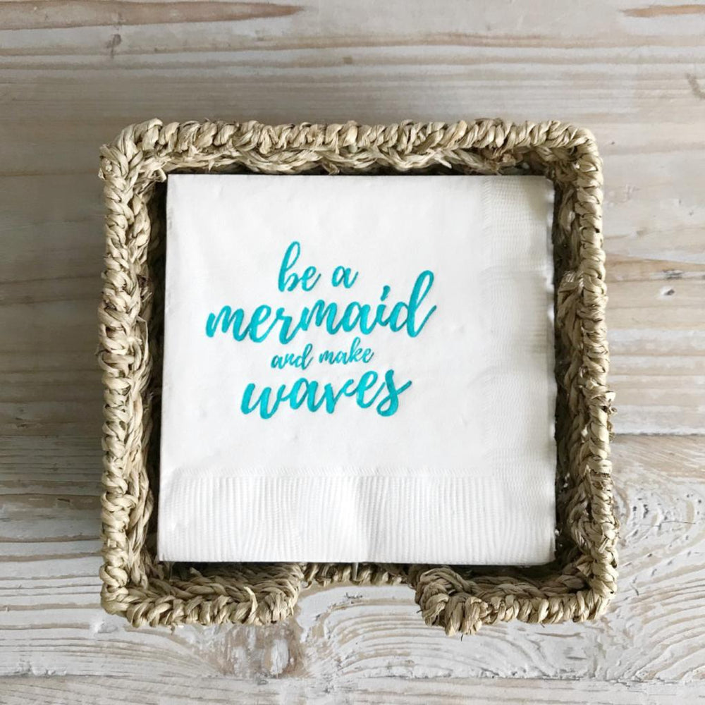 be a mermaid napkins in seagrass basket