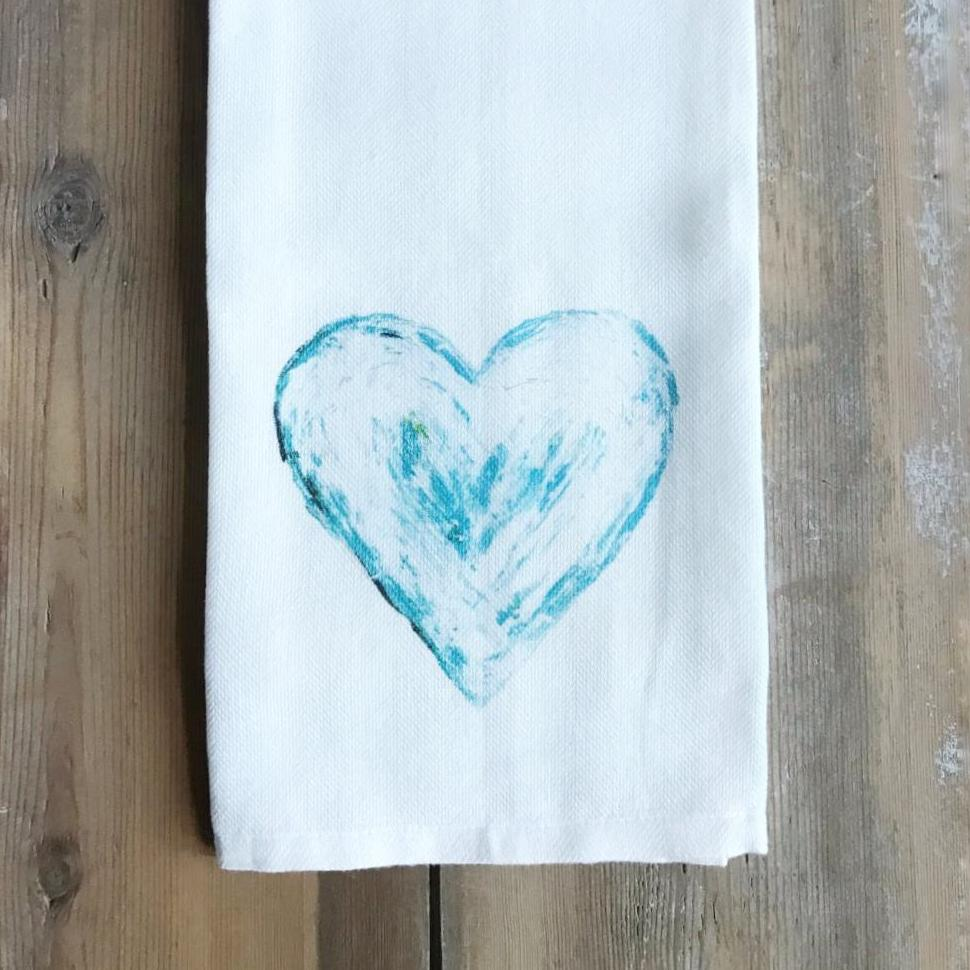 blue heart towel