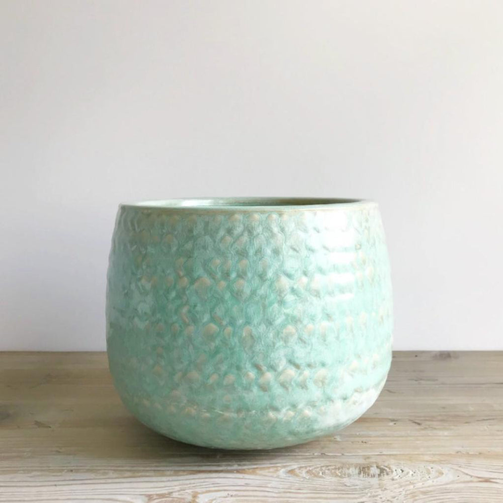 sea green glazed pot