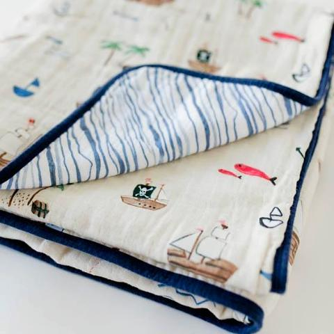 treasure map cotton muslin quilt