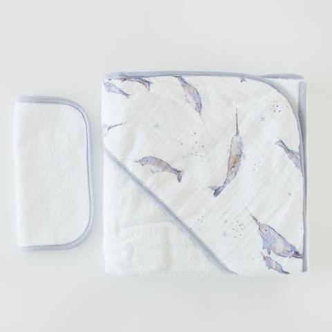 narwhal hooded towel set