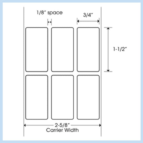 "PLT-130 3/4"" x 1-1/2"" Rectangle<p>Blank White Thermal Transfer Labels"