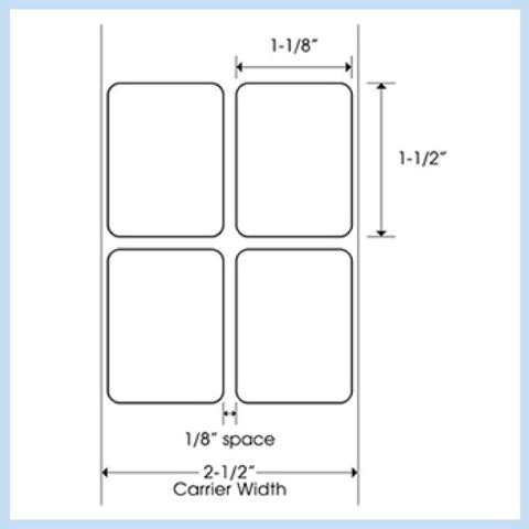 "PLT-150 1-1/8"" x 1-1/2"" Rectangle<p>Blank White Thermal Transfer Labels"