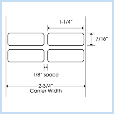 "PLT-155 1-1/4"" x 7/16"" Rectangle<p>Blank White Thermal Transfer Labels"