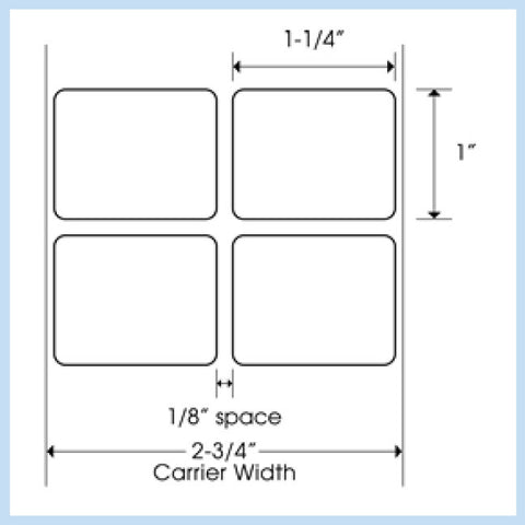 "PLT-170 1-1/4"" x 1"" Rectangle<p>Blank White Thermal Transfer Labels"