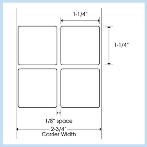 "PLT-175 1-1/4"" x 1-1/4"" Square<p>Blank White Thermal Transfer Labels"