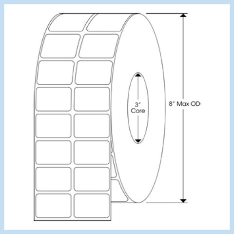"PLT-185 1-1/2"" x 1"" Rectangle<p>Blank White Thermal Transfer Labels"