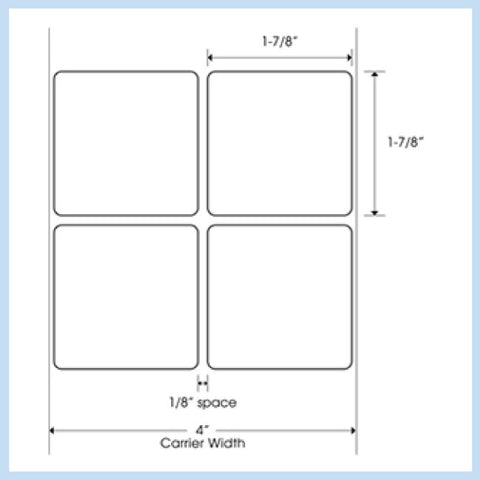 "PLT-215 1-7/8"" x 1-7/8"" Square<p>Blank White Thermal Transfer Labels"