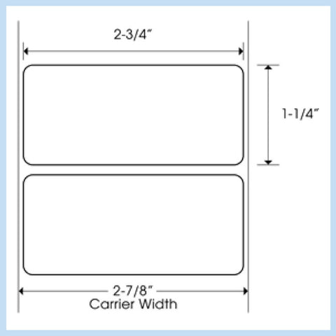 "PLT-250 2-3/4"" x 1-1/4"" Rectangle<p>Blank White Thermal Transfer Labels"