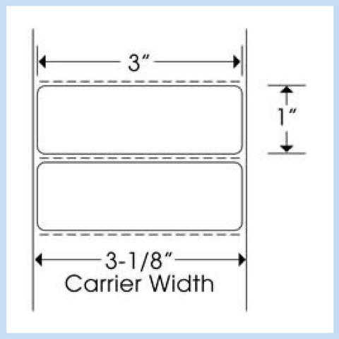 "PLT-255 3"" x 1"" Rectangle<p>Blank White Thermal Transfer Labels"