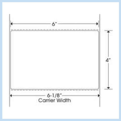 "PLT-305 6"" x 4"" Rectangle<p>Blank White Thermal Transfer Labels"