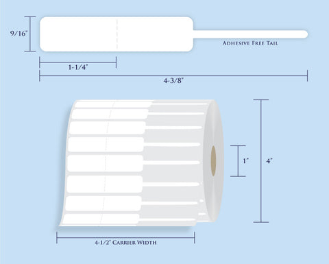 "Item# RT-120-14 Rattail Tags <br/> 1"" Core, 4"" Roll OD"
