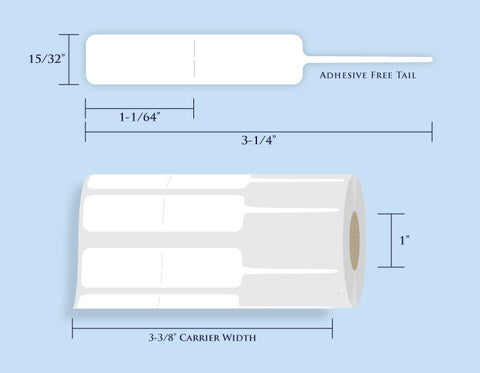 "Item# RT-129-MiniRoll Rattail Tags <br/> 1"" Core, 1,000 Tags"