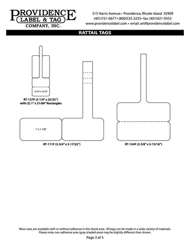 "Item# RT-129-38 Rattail Tags <br/> 3"" Core, 8"" Roll OD"