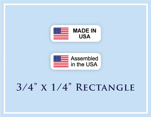 "C.  3/4"" x 1/4"" Rectangle <p>Made in USA Labels"