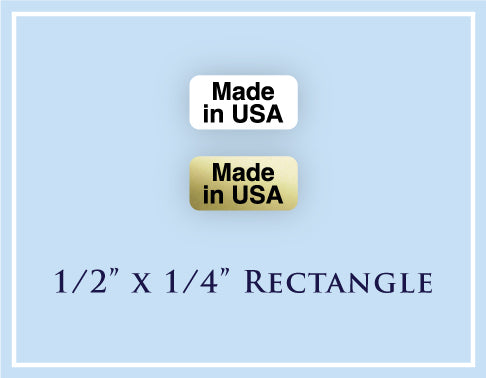 "A.  1/2"" x 1/4"" Rectangle <p>Made in USA Labels"