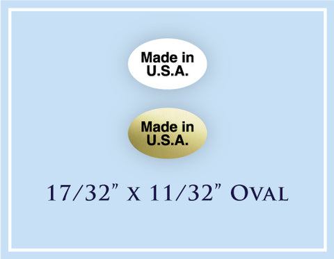 "B.  17/32"" x 11/32""Oval <p>Made in USA Labels"