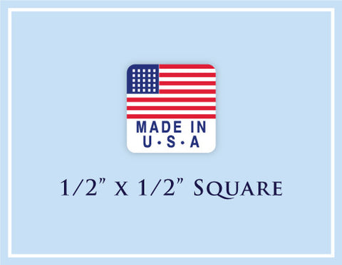 "D.  1/2"" x 1/2"" Square <p>Made in USA Labels"