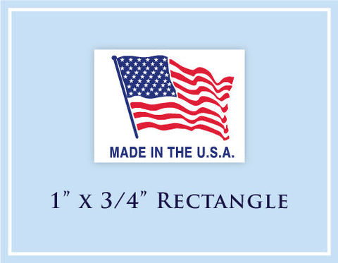 "E.  1"" x 3/4"" Rectangle <p>Made in USA Labels"