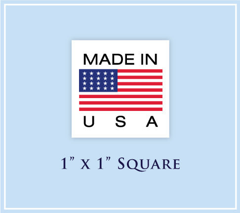 "F.  1"" x 1"" Square <p>Made in USA Labels"