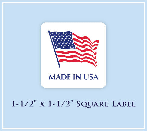 "G.  1-1/2"" x 1-1/2"" Square <p>Made in USA Labels"