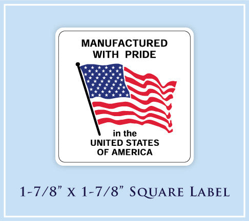 "H.  1-7/8"" x 1-7/8"" Square <p>Made in USA Labels"