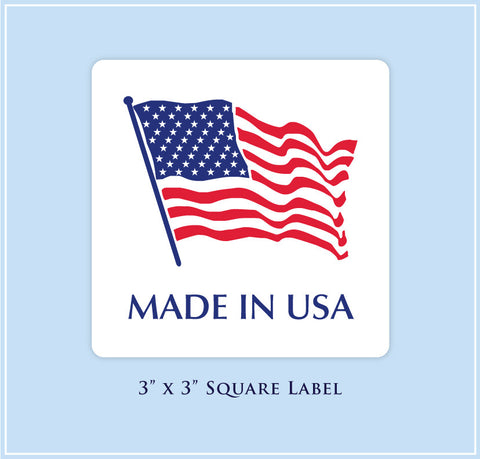 "I.  3"" x 3"" Square <p>Made in USA Labels"