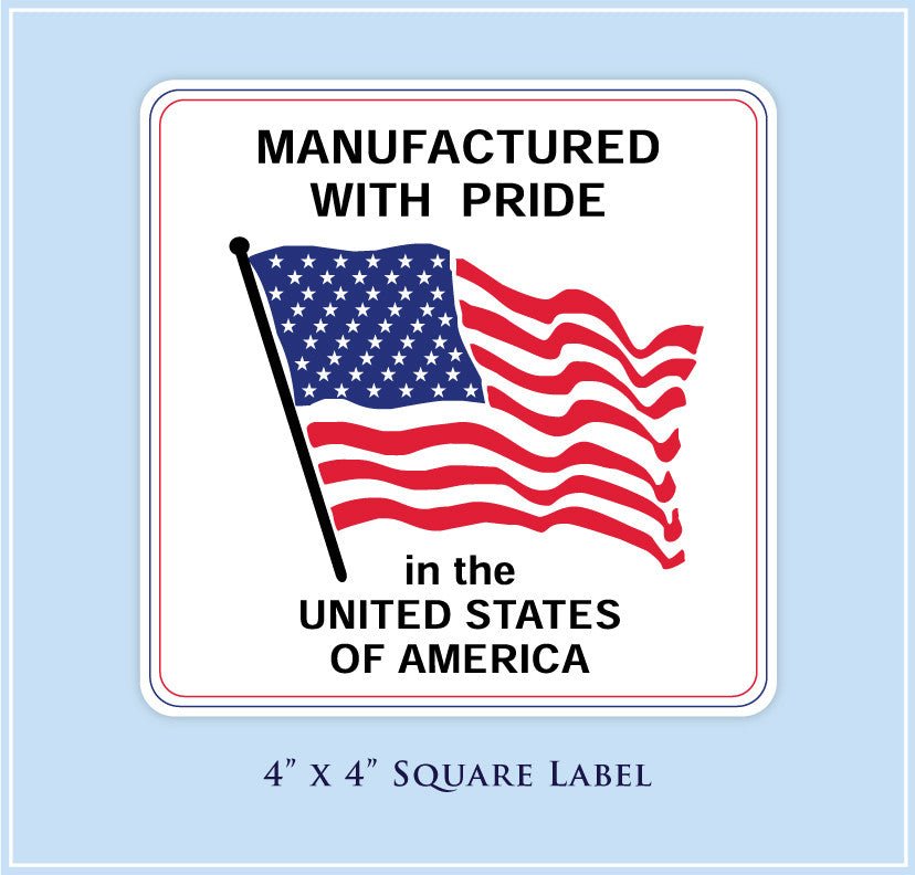 "J.  4"" x 4"" Square <p>Made in USA Labels"