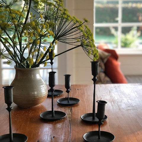 Blackened Steel candlestick holders