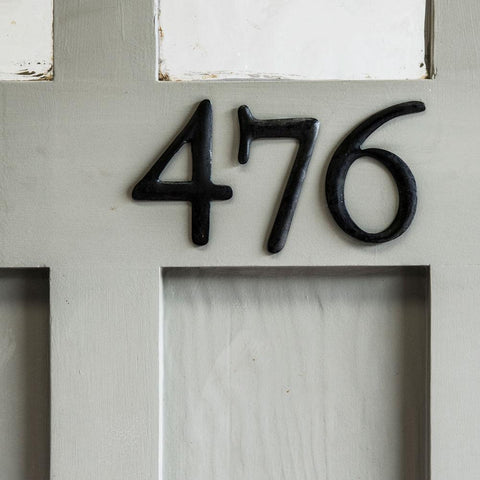 Blackened steel house numbers