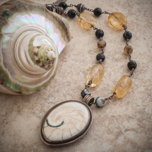 FOSSILIZED BONE AMMONITE NECKLACE