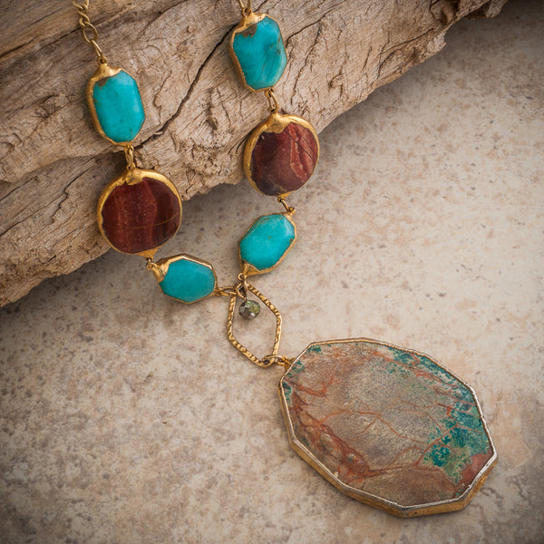 TURQUOISE, CHRYSOPRASE & JASPER STATEMENT NECKLACE