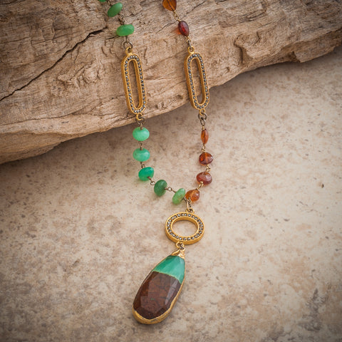 AFRICAN CHRYSOPRASE TEARDROP NECKLACE