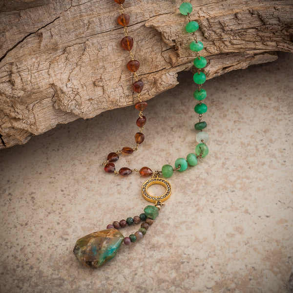AFRICAN CHRYSOPRASE & TURQUOISE NECKLACE